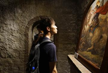 a student and an ancient painting